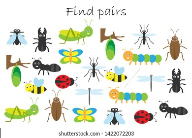Find pairs of identical pictures, fun education game with insects theme for children, preschool worksheet activity for kids, task for the development of logical thinking, vector illustration