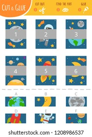 Find the right part. Education cut and glue game for children. Color set of cartoon illustration about space and astronomy