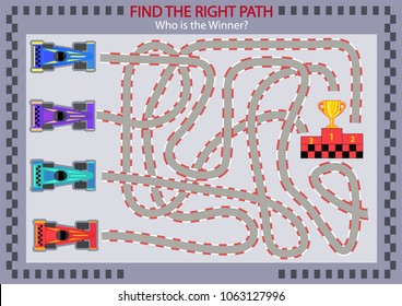 Find the right path for winner with racing cars. Children maze. Funny cartoon riddle entertainment and amusement. Kid's art game and activities jigsaw. Vector illustration.
