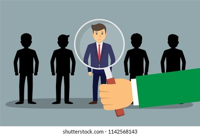 Find the right person for the job concept with business, businessman