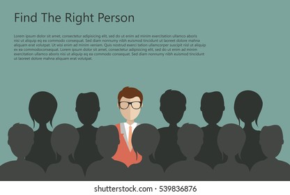 Find the right person for the job concept. Green background. Flat vector design