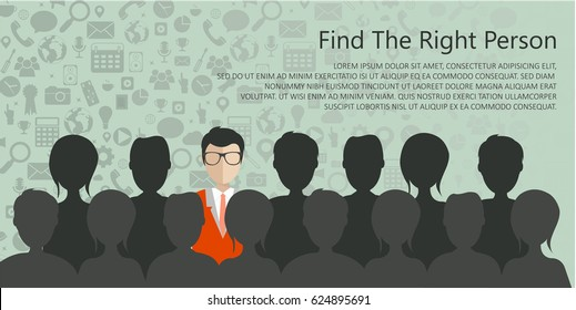 Find the right person for the job concept with business icons on green background. Flat vector design