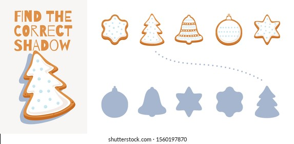 Find the right shadow from gingerbread cookies. Simple children's game for comparing and connecting objects and their true shadows. Educational illustration for preschool education.