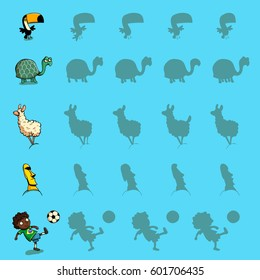 Find the right shadow visual games. Five games Set. Solution in hidden layer! Theme is South America.  Illustration is in eps10 vector mode.