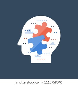 Find right solution, decision making, logic and critical thinking, simple solution, psychiatry and analytics, common ground and compromise, multitasking concept, jigsaw in head, vector icon