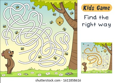 Find the right way. Funny cartoon game for kids, with solution. Vector illustration with separate layers.
