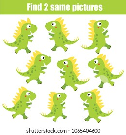 Find the same pictures children educational game. Find equal pairs of dino kids activity. Animals theme