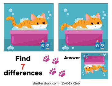 Find seven differences. Educational game for preschool children. Angry kawaii cat washes in a basin. Cartoon character.