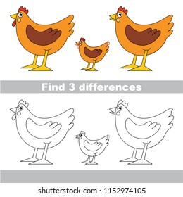 Find the several differences between pictures, the simple educational kid game for preschool kids. The Hen