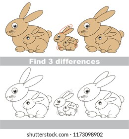 Find the several differences between pictures, the simple educational kid game for preschool kids. Mom and her infant Rabbit