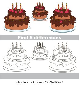 Find the several differences between pictures, the simple educational kid game for preschool kids. Cake