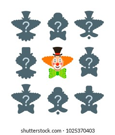 Find the shadow educational puzzle game. Match the correct silhouette of funny clown face. Visual test for preschool kids