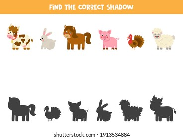 Find shadows of farm animals. Educational logical game for kids.