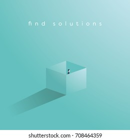 Find solution business vector concept with businessman standing in a box. Think outside the box symbol. Eps10 vector illustration.