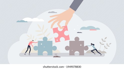Find solution as fitting together jigsaw puzzle pieces tiny person concept. Collaboration, teamwork and work support for problem solving vector illustration. Business matching with assistance and help