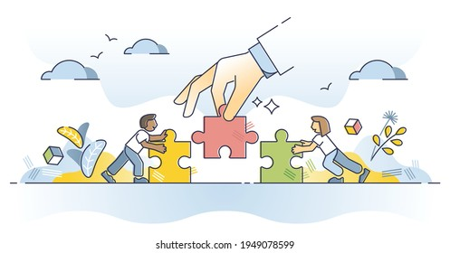 Find solution as help fitting jigsaw puzzle pieces together outline concept. Collaboration, teamwork or work support for problem solving vector illustration. Business matching with assistance and help