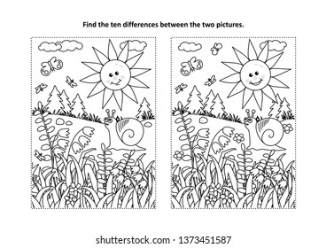 Find the ten differences picture puzzle and coloring page with sun, snail, butterflies and wildflowers