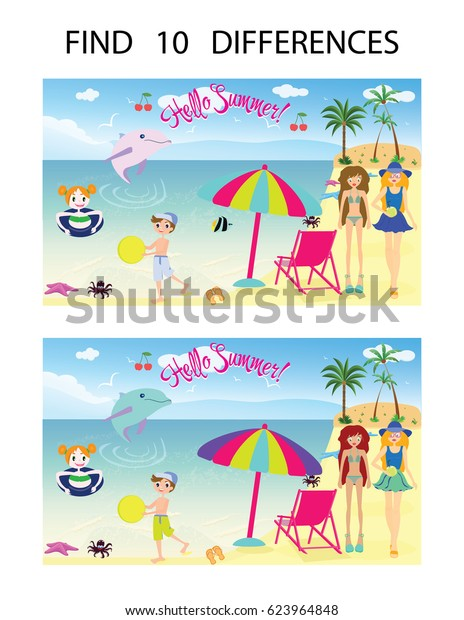 picture regarding Find the Differences Printable referred to as Discover 10 Variations Printable Activity Vector Inventory Vector