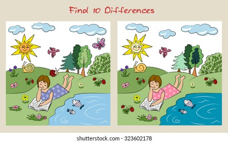 Find ten differences.Visual puzzle.