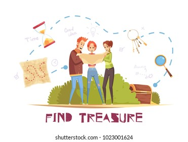 Find treasure cartoon vector illustration with game accessories and young people looking in map decorative icons