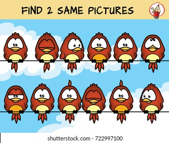 Find two the same birds on the picture. Educational matching game for children. Cartoon vector illustration