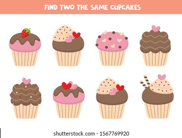 Find two the same cupcakes, game for kids.