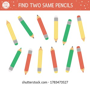 Find two same pencils. Back to school matching activity for children. Funny educational activity for kids. Autumn logical quiz worksheet. Simple printable game for kids
