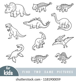 Find two the same pictures, education game for children. Black and white set of dinosaurs