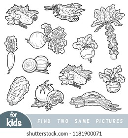 Find two the same pictures, education game for children. Black and white set of vegetables