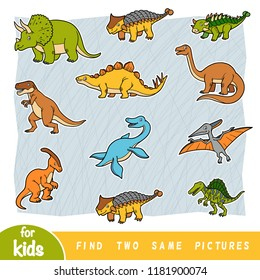 Find two the same pictures, education game for children. Colorful set of dinosaurs