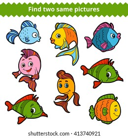 Find two same pictures, education game for children. Vector color set of fishes