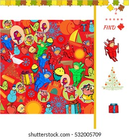 Find two the same pictures, education game for children New Year theme