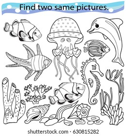 Find two same pictures, education game for  children.Vector black and white.  Sea animals.