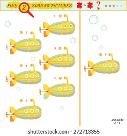 Find two similar pictures. Puzzle or picture riddle. Education matching game for preschool children. Cartoon ship. Vector submarine. Answer included