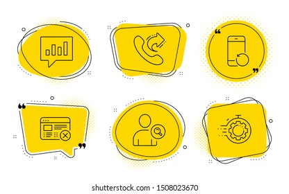 Find user, Analytical chat and Seo timer signs. Chat bubbles. Reject web, Recovery phone and Share call line icons set. No internet, Backup smartphone, Phone support. Search person. Vector