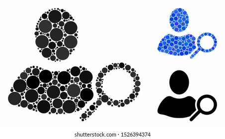 Find user mosaic for find user icon of small circles in variable sizes and color tinges. Vector round dots are grouped into blue mosaic. Dotted find user icon in usual and blue versions.