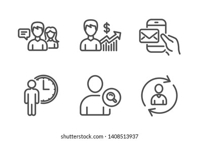 Find user, People talking and Waiting icons simple set. Business growth, Messenger mail and Person info signs. Search person, Contact service. People set. Line find user icon. Editable stroke. Vector
