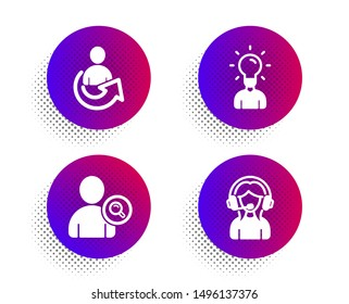 Find user, Share and Education icons simple set. Halftone dots button. Support sign. Search person, Referral person, Human idea. Call center. People set. Classic flat find user icon. Vector