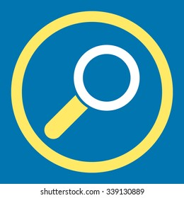 Find vector icon. Style is bicolor flat rounded symbol, yellow and white colors, rounded angles, blue background.