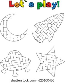 Find a way out of the space labyrinth. Game for kids: go through the maze