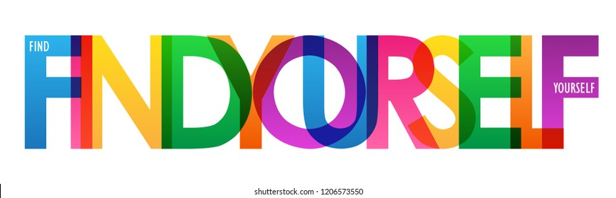 FIND YOURSELF rainbow letters banner