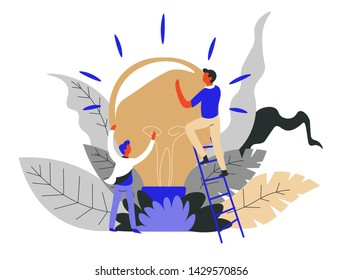 Finding idea business concept startup light bulb vector teamwork man on ladder creativity invention and solution hard work project creation cooperation and coworking colleagues team support.