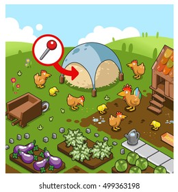 Finding a needle in a haystack. Proverb set on farmland with hen house, chicken, rooster and vegetable beds (isometric view)