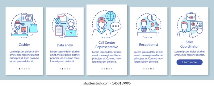 Finding part time jobs onboarding mobile app page screen with linear concepts. Receptionist, sales coordinator walkthrough steps graphic instructions. UX, UI, GUI vector template with illustrations