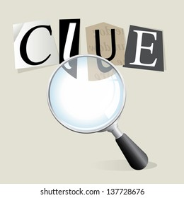 "Finding a ransom note ""clue"" with a magnifying glass. Vector EPS 10 file. Transparencies used."