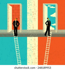Finding the Right Opportunity Two businessmen climbing the corporate ladder. The man on the left ends up facing a brick wall. The man on the right opens a door to endless possibilities.