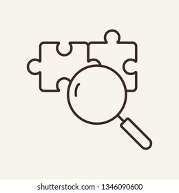 Finding solution line icon. Magnifier glass, puzzle, search. Strategy concept. Vector illustration can be used for topics like business, research, idea