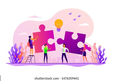 Finding solution, problem solving. Teamwork and partnership. Working team collaboration, enterprise cooperation, colleagues mutual assistance concept. Vector isolated concept creative illustration