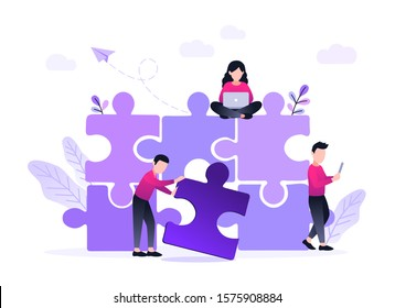 Finding solution, problem solving. Teamwork and partnership. Working team collaboration, enterprise cooperation, colleagues mutual assistance concept. Website homepage header landing web page template