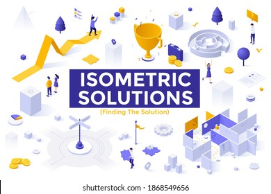 Finding The Solution set - people solving problems on way towards business success, achieving goals using tactics or strategic thinking. Collection of isometric design elements. Vector illustration.